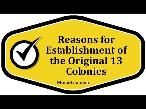 Reasons for Establishment of the Original 13 Colonies