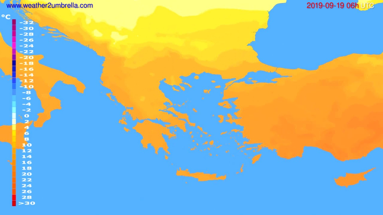 Temperature forecast Greece // modelrun: 12h UTC 2019-09-16