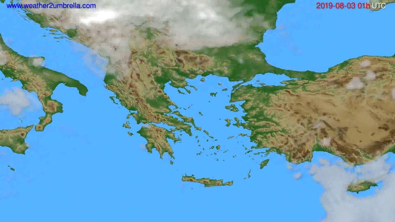 Cloud forecast Greece // modelrun: 00h UTC 2019-08-01