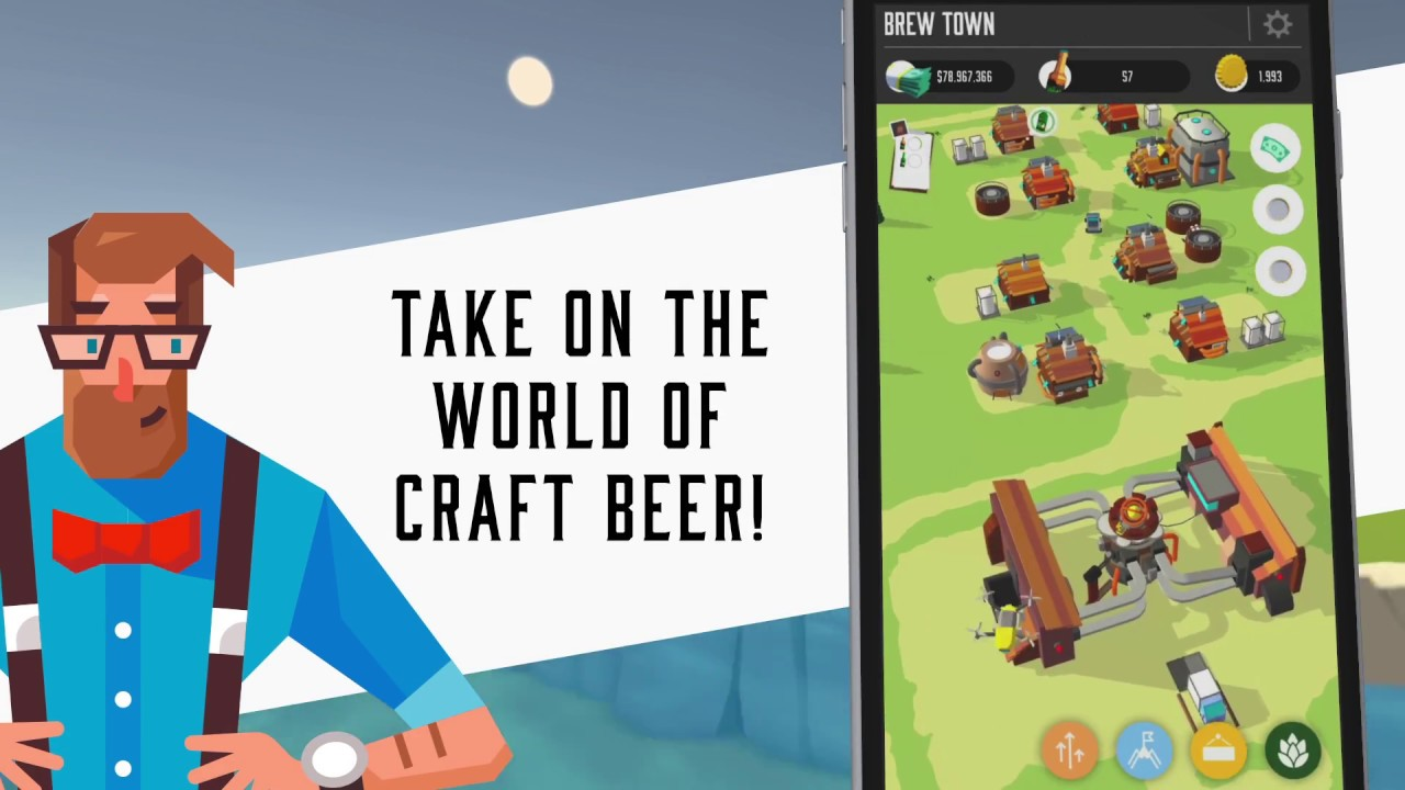 Design the Look and Taste of Your Dream Beer in 'Brew Town' Craft Beer Simulator from 'Fist of Awesome' and 'Neon Horizon' Developers