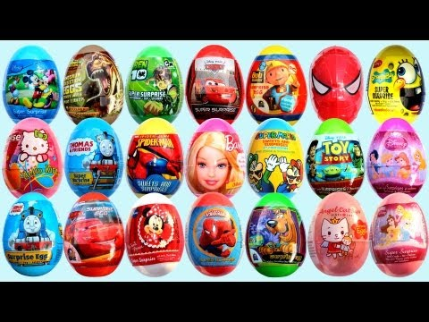 minnie - Unboxing 24 Surprise eggs: Kinder Surprise, Mickey mouse surprise egg, Minnie Mouse Surprise egg, disney pixar cars 2 surprise egg, thomas and friends surpri...