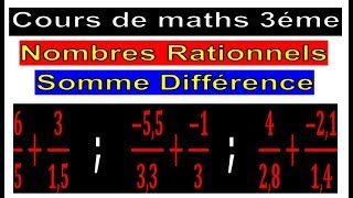 Maths 3ème - Les nombres rationnels Addition et Soustraction Exercice 26