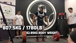 Brett Gibbs - 807.5kg/1780lb total at 82.8kg RAW