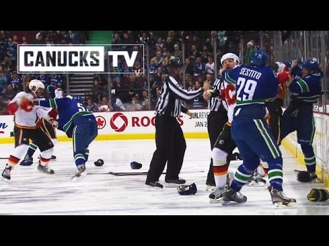 Brawl - A full out line brawl at the very start of the Vancouver Canucks / Calgary Flames game from Saturday January 18, 2013 as every player on the ice squared off ...