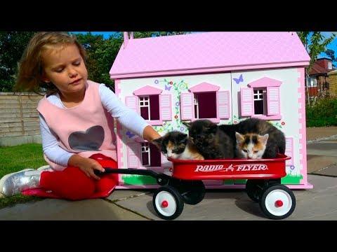 Наши котята Ваd bаbу Liттlе Кiттеns в Домике для кукол мультики про котят Кid's Моrning rоuтinе - DomaVideo.Ru