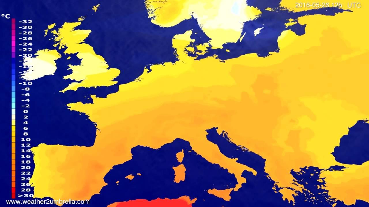 Temperature forecast Europe 2016-05-24