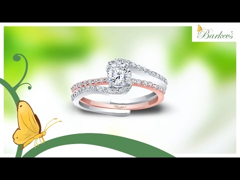 Barkev's Classic Two Tone Rose and White Gold Bridal Set - 7907ST