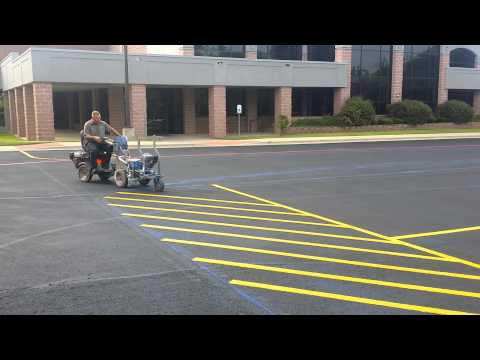 Professional parking lot striping