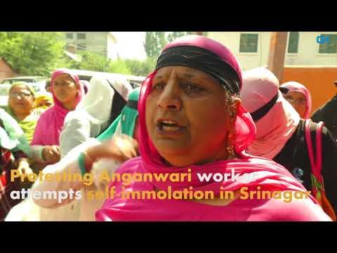 Protesting Anganwari worker attempts self-immolation in Srinagar