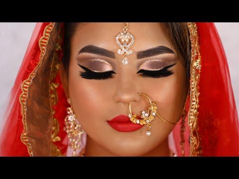 Tutorial de Maquillaje hindú de novia asiático Real  | Dramáticos ojos alados y labial rojo oscuro