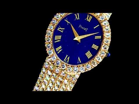 18k Yellow Gold Piaget Manual Mechanical Wristwatch. Lapis Lazuli Dial with Roman Numerals