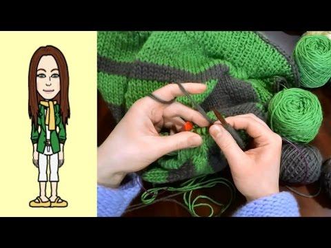 RVO – Raglan von oben Pullover stricken mit Rund-Ausschnitt u Streifen (Teil 7 von 8)