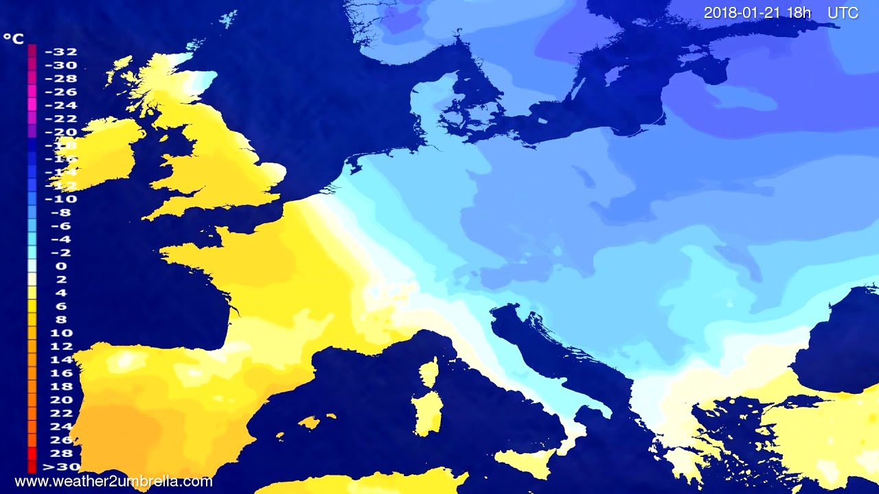 Temperature forecast Europe 2018-01-18