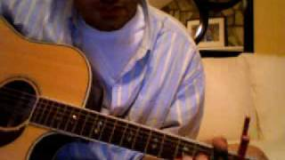 Wonderwall by Oasis.  This is a fairly easy song to play.  You will need a capo on the 2nd fret.  Chords are (Em7, G, Dsus4, A7sus4).
