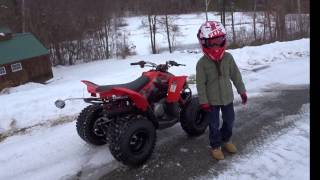 6. Riding a Can-Am Youth DS 90 ATV Four Wheeler in the Winter on Snow