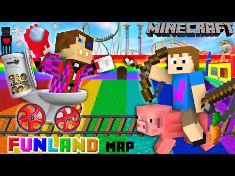 Duddy & Chase go to FUNLAND 3! Minecraft Amusement Park Map (FGTEEV Theme Park Mod Gameplay) (видео)