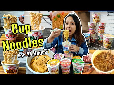I only ate CUP NOODLES for 24 Hours   Food Challenge   Eating all types of Cup Noodles