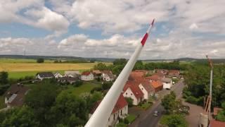 Transport der Rotorblätter für Windpark Traisbach bei Fulda