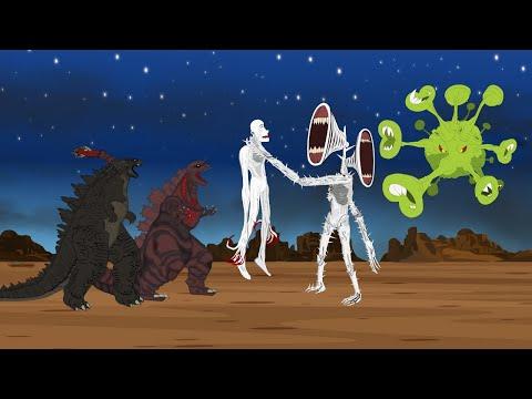 GODZILLA & SHIN GODZILLA vs SIREN HEAD BLUE CORONAVIRUS ATTACK SCP096 [HD]   Godzilla Movie Cartoon