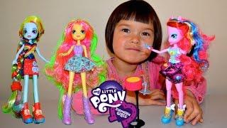 My little Pony Equestria Girls Rainbow Rocks Pinkie Pie Fluttershy Rainbowdash Dolls