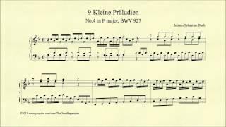 Bach, Prelude in F major, BWV 927, Piano