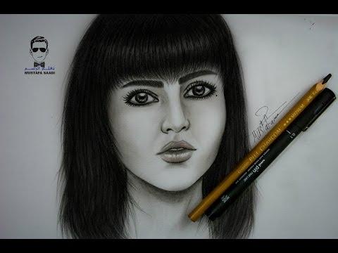 خطوات رسم الوجه بالفحم الجزء الثاني drawing girl with charcoal part2