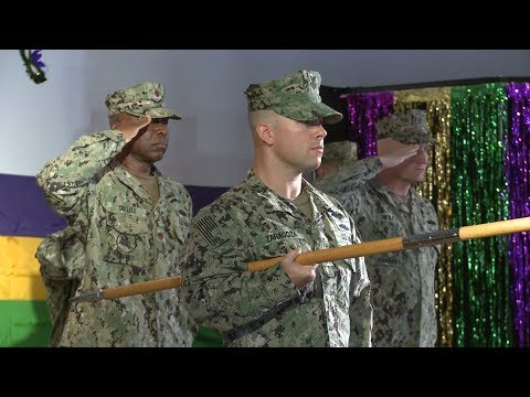 In February, with the festive colors of Mardi Gras as the backdrop, a transfer of authority ceremony for departing Naval Mobile Construction Battalion (NMCB) 133 and incoming NMCB 11 was held at Camp Lemonnier, Djibouti, Africa.