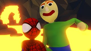 BALDI & SPIDERMAN TRAPPED INSIDE A VOLCANO?! | Human Fall Flat