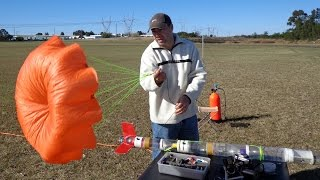 Measuring the effectiveness of reefing a parachute to create more drag. This is useful for time of flight competitions, or when you don't have enough room in your rocket for a bigger chute.More details are available here: http://www.AirCommandRockets.com/day177.htm
