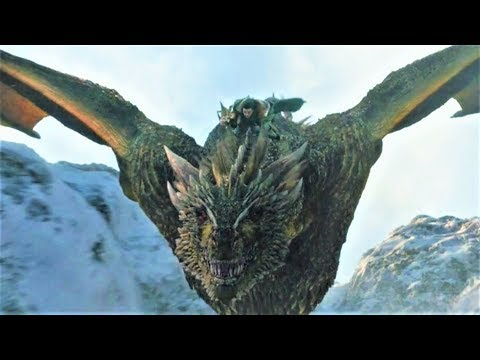 Game of Thrones 8x01 Jon Snow rides Dragon with Daenerys Scene
