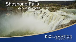 A plethora of water flows over Shoshone Falls near Twin Falls, Idaho in early April of 2017. The stunning view has attracted many visitors.