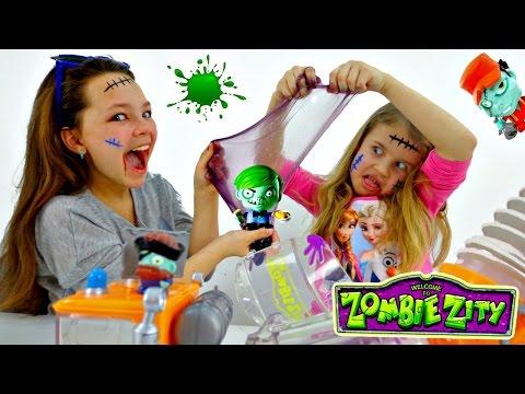 ЗОМБИ. Распаковка Zombie Zity. Настя, Ксюша и Игры Зомби. Машина Слизевоз (видео)
