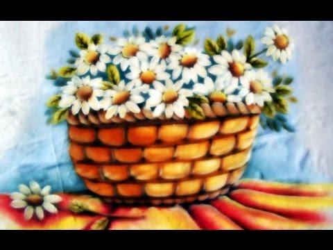 Pintura em Tecido - Cesta de margaridas! Parte 2/2