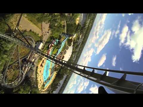 thorpe park the swarm - The Swarm ride in slow motion 720HD 60fps.