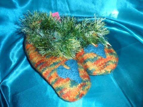 Hausschuhe- Pantoffeln stricken und filzen(mit 100% FILZWOLLE !) Größe 38-40 2/2