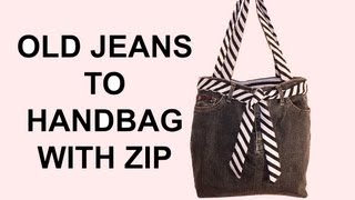 DIY Fashion jean bag (How to make a jean purse with ZIP) - YouTube