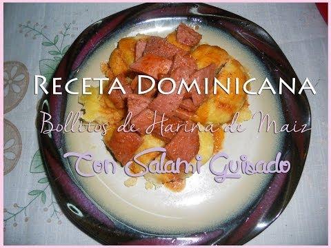 Receta de Bollitos de Harina de Maiz & Salami Guisado-Receta Dominicana