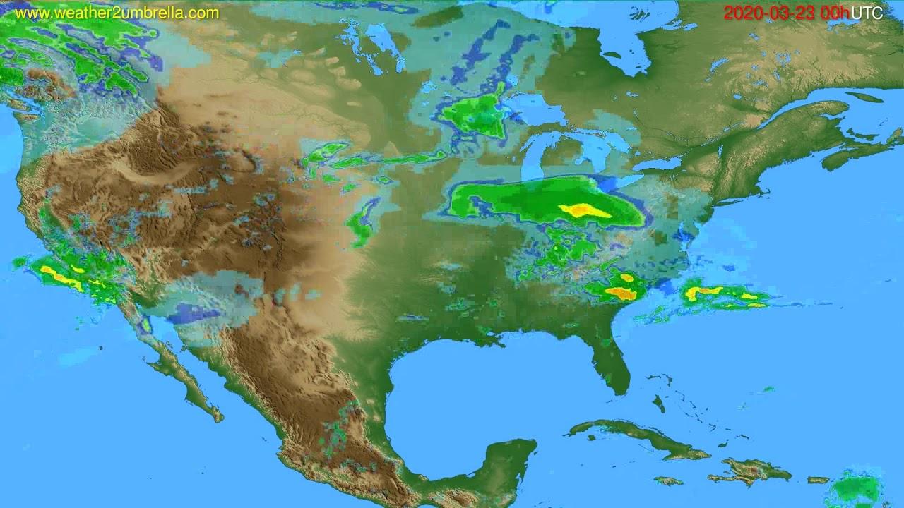 Radar forecast USA & Canada // modelrun: 12h UTC 2020-03-22