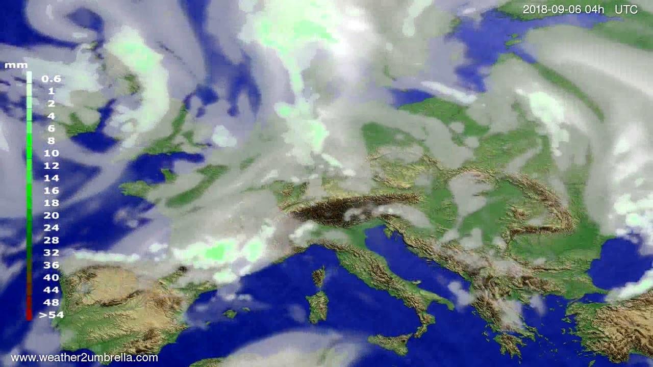 Precipitation forecast Europe 2018-09-02