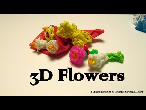 Rainbow Loom 3D lily Flowers Bouquet Charm – How to – Mother's Day gift idea