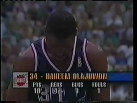 Hakeem Olajuwon scores 33 points vs. Jazz - Game 5 1997 West Finals