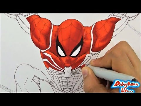 Dibujando A SPIDER-MAN 2018 Marvel FanArt Con Sharpie | Drawing Marvel´s Spider-Man | DibujAme Un