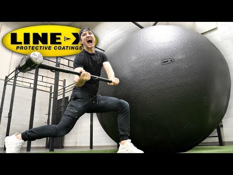 I SPRAYED A GIANT BALL WITH LINE-X!! (LINE-X BALL EXPERIMENT)