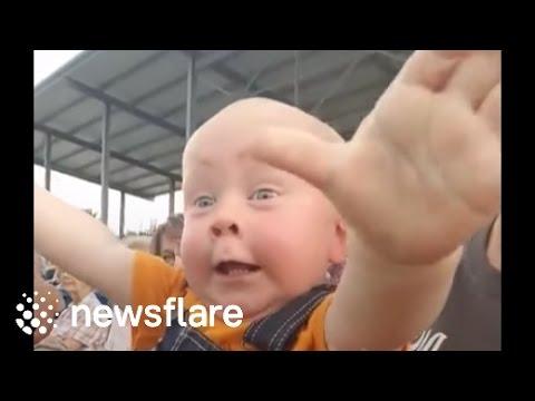 Tällä vauvalla taitaa virrata bensaa suonissa – Tuleva motoristi innoissaan katsomossa