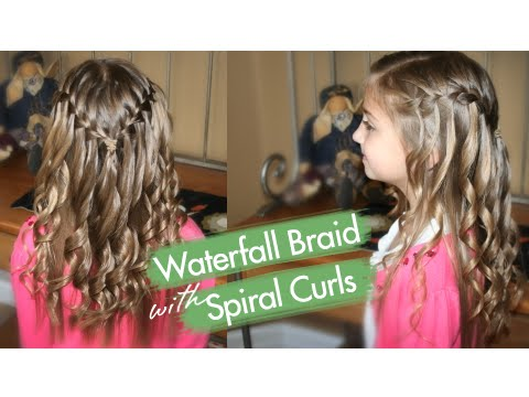 Waterfall Braid with Spiral Curls | Prom Hairstyles | Cute Girls Hairstyles