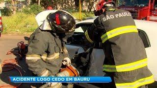 Acidente entre dois carros em Bauru deixa uma pessoa ferida