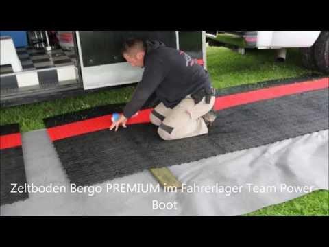 Zeltboden Bergo PREMIUM im Fahrerlager Team Power Boot