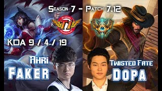 Faker AHRI vs Dopa TWISTED FATE Mid Lane - Patch 7.12 KR Ranked ↓↓↓ Runes & Masteries ↓↓↓ GAME TYPE: Ranked...