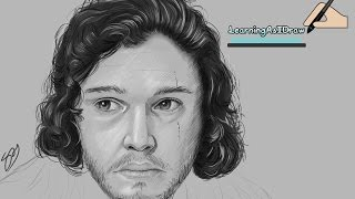 Game of Thrones fan art / digital sketch of Jon Snow, done in Photoshop CS6 on a Wacom Cintiq 13 HD. Winter is coming... :DPeople always ask me about the pencil / sketch type brush I use in videos like this, here is a link showing you how to make the brush :) - https://youtu.be/Ffw5NBR-BzMP.S I am still learning so I know the portrait isn't perfect and doesn't look too much like Jon Snow, but hopefully it's recognisable! This took about 4 hours ( I'm a little slow with my art work! facebook- http://facebook.com/learningasidrawdeviantart-  http://learningasidraw.deviantart.comInstagram - https://www.instagram.com/learningasidrawart/twitter- http://twitter.com/learningasidrawblog- http://learningasidraw.blogspot.co.uk