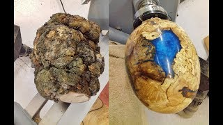 Video Woodturning - One Big Ugly Burl into a dragon egg !! MP3, 3GP, MP4, WEBM, AVI, FLV Desember 2018